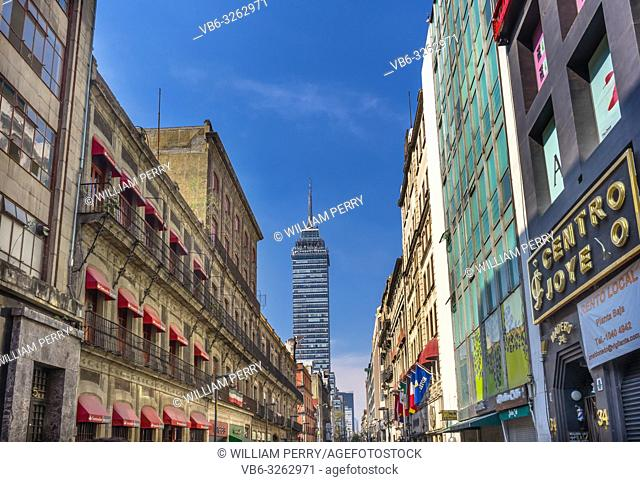 Mexican Madero Street Skyscraper Center of Mexico City Mexico. Famous Walking Shopping Street