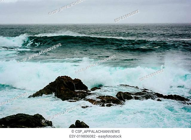 Waves and rocks in the Pacific Ocean, seen at Garrapata State Park, California
