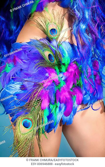 Closeup of a Female Dress Made of Feathers