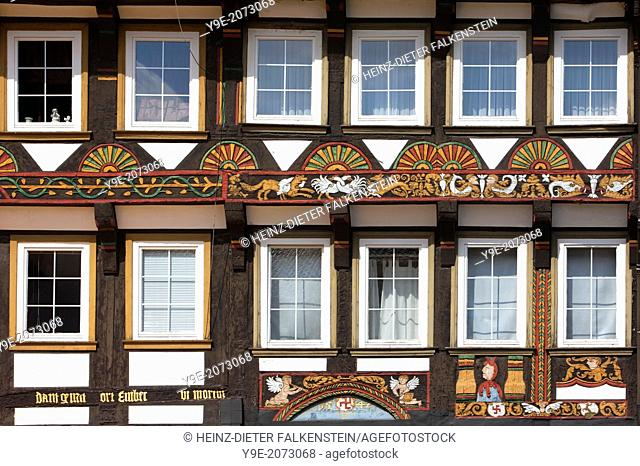Coat of arms, Family Raven, 1542, Ornate Fachwerk-style, Decorations on a half-timbered house, Einbeck, Lower Saxony, Germany, Europe