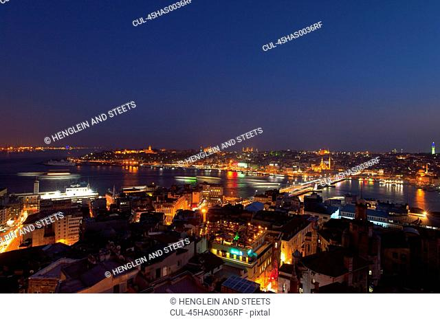 Golden Horn and Bosphorus from Galata tower, Istanbul, Turkey