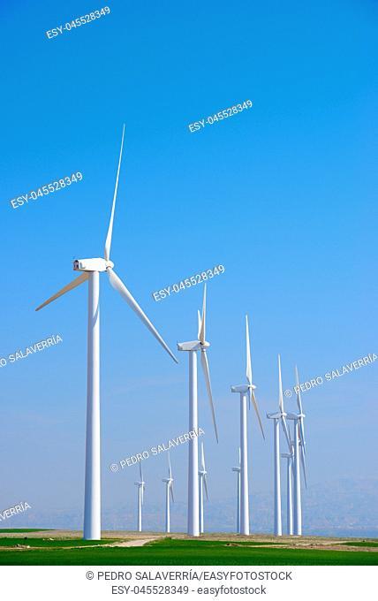 Windmills for electric power production, Pozuelo de Aragon, Zaragoza, Aragon, Spain