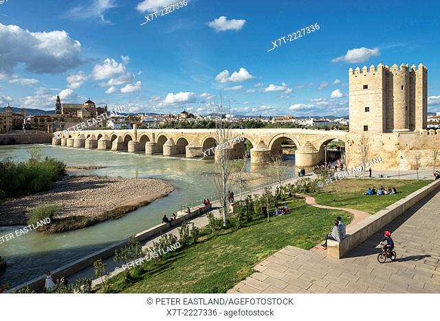 By the Torre de la Calahorra looking across the Guadalquivir river and Roman bridge to the cathedral and historic centre of Cordoba, Andalucia, Spain