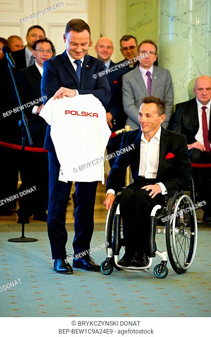 October 5th, 2016 Warsaw, Poland. Andrzej Duda decorated olympians and paralympians