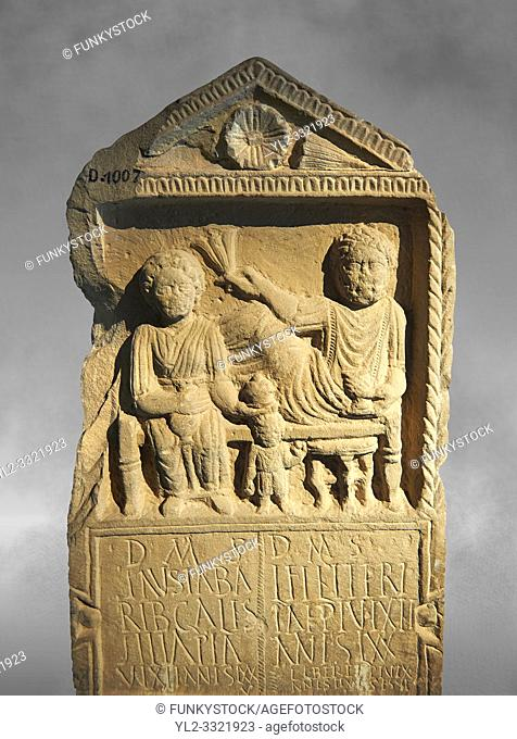 Second century Roman Christian funerary stele for 3 dead people from Africa Proconsularis. The stele depicts the deceased: Fausata who died age 75
