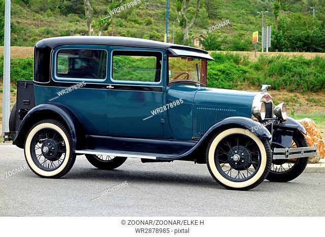 Vintage 1928 Model A Ford in Blue