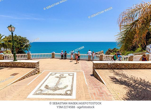 Mirador del Bendito viewpoint looking out to sea over Playa Carabeillo, Nerja, Costa del Sol, Malaga Province, Andalusia, Spain, Europe