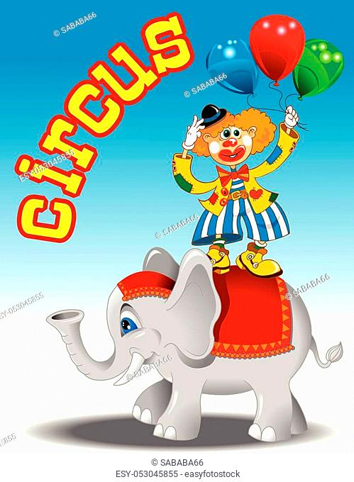 circus performers - clown with balloons and elephant