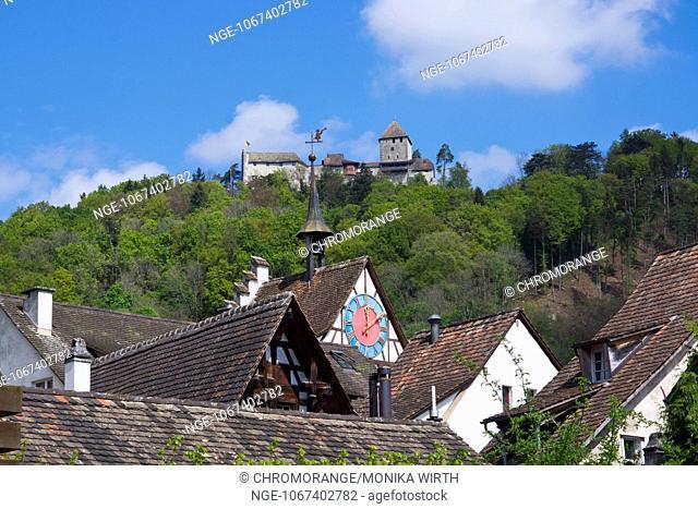 Stein am Rhein, in the background castle Hohenklingen, Stein am Rhein, High Rhine, Canton of Schaffhausen, Switzerland, Europe