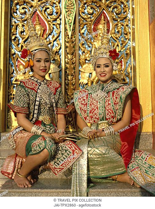 Girls Dressed in Traditional Dancing Costume, Sukhothai, Thailand