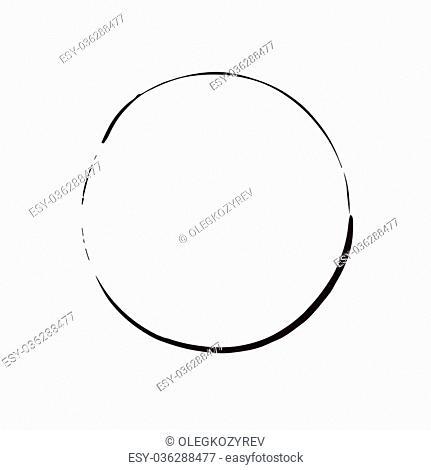 circle shape vector black grunge background. Vintage old round. A circular trail mark. Round frame brush paint blot. Black circle line