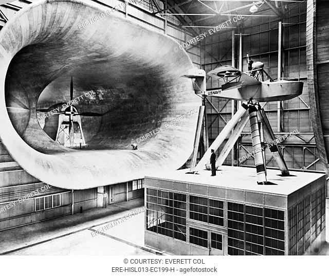 Mammoth seven story high wind tunnel, used in testing airplane design. 1932
