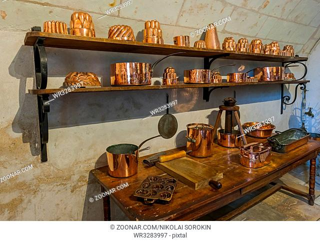 Kitchen in Chenonceau castle - Loire Valley - France - travel and architecture background
