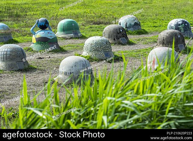 44 Helmets monument symbolising German WWI occupation after the Battle of the Silver Helmets / Slag der Zilveren Helmen, Halen, Limburg, Belgium