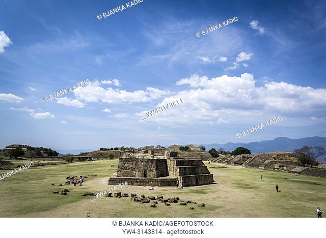 Monte Alban, a pre-Columbian archaeological site, View of Main Plaza from the South Platform, with Building J in the foreground. , Oaxaca, Mexico