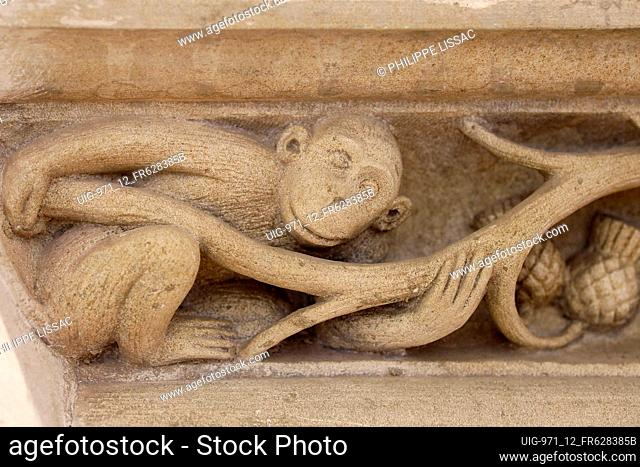 Jacques Coeur Palace, Bourges, France. Monkey relief