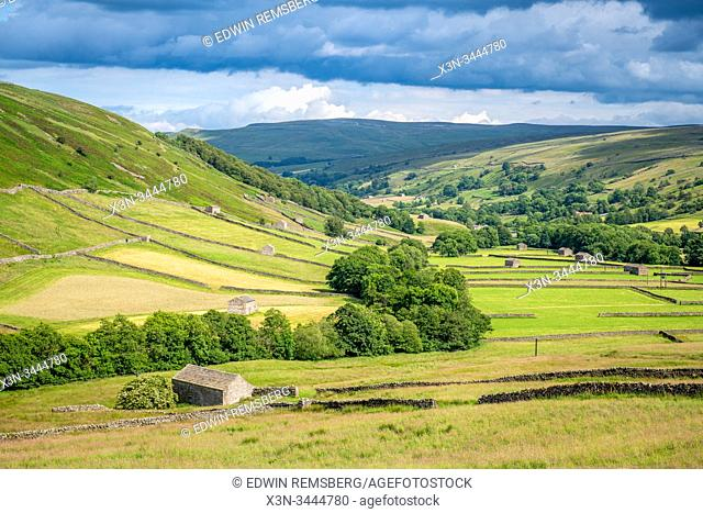 Stone structures dot the fields of the Yorkshire Dales, Yorkshire, United Kingdom