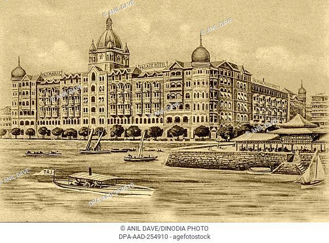 Vintage photo of taj mahal palace hotel, mumbai, maharashtra, india, asia