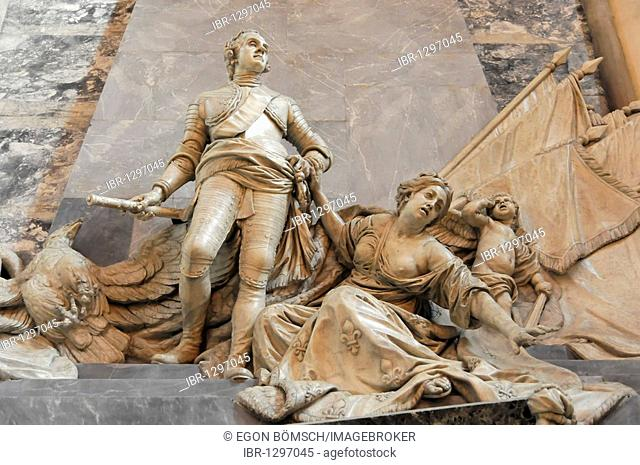Tomb, mausoleum of Marshal Maurice de Saxe, Saint-Thomas Church, Strasbourg, Alsace, France, Europe