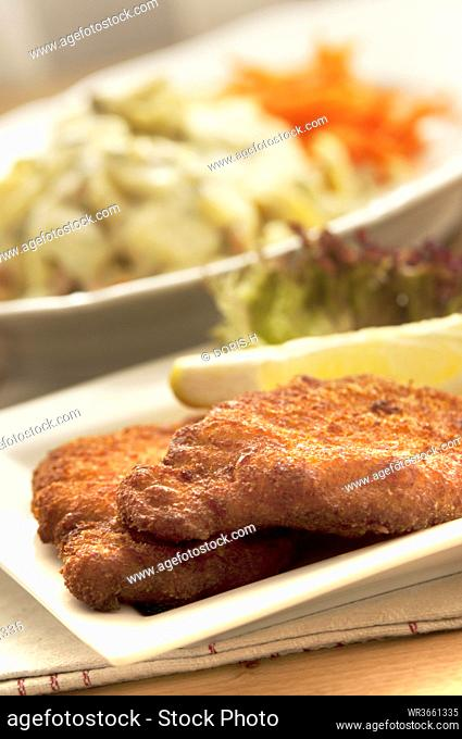 Viennese Schnitzel on plate, close up