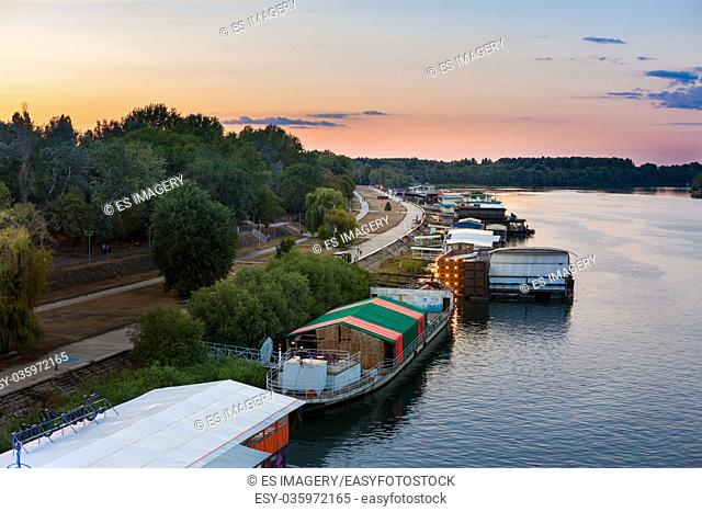 Splav (river barge) night clubs on the Sava, Belgrade, Serbia