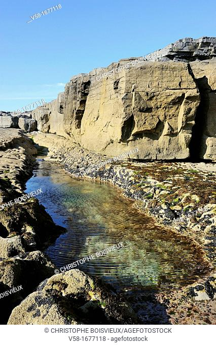 Ireland, County Galway, Aran Islands, Inishmore, Seawater pool near Poll na Bleist