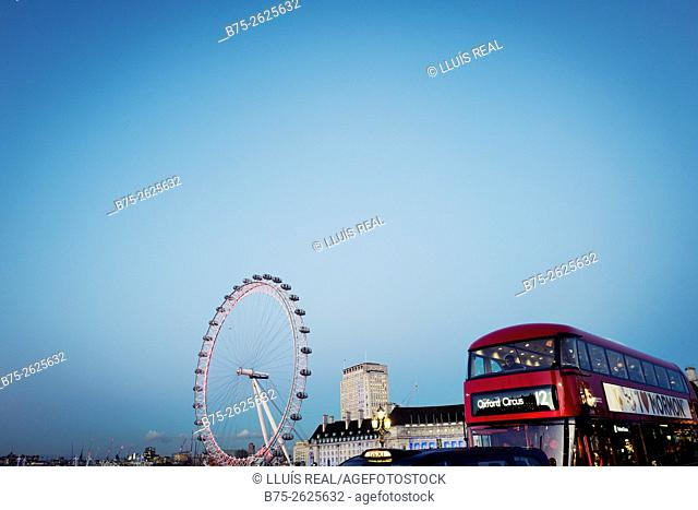 Picture from Westminster Bridge, The Wheel, London Eye, the Old Town Hall building, Taxi, a double decker bus to Oxford Circus and a blue sky