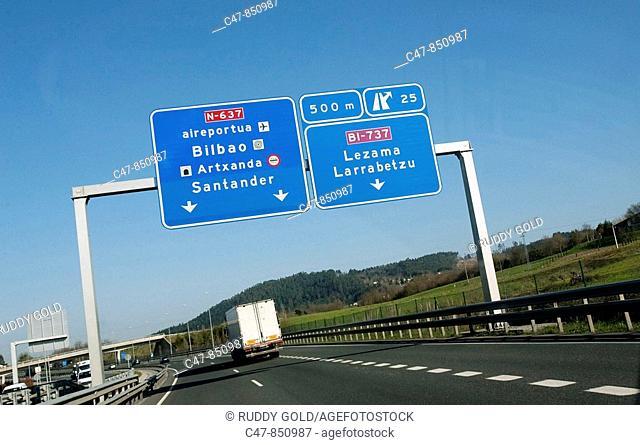 Spain, Basque Country, Autopista del Cantábrico (freeway), close to Bilbao