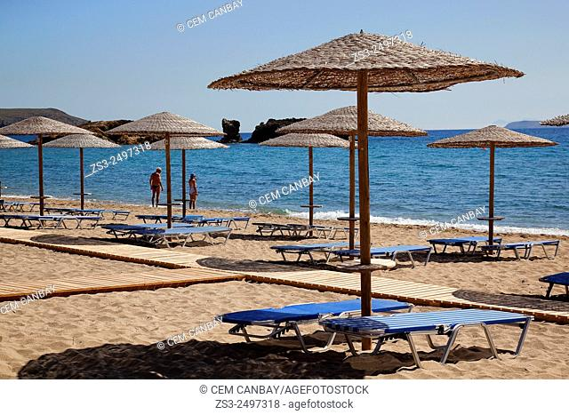 People and thatched umbrellas at the sandy Vai beach, Lasithi Region, Crete, Greek Islands, Greece, Europe