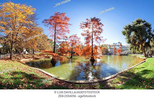 glass palace in retiro park in autumn. madrid. spain