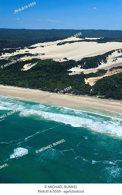 Aerial of the Seventy-Five Mile Beach, Fraser Island, UNESCO World Heritage Site, Queensland, Australia, Pacific