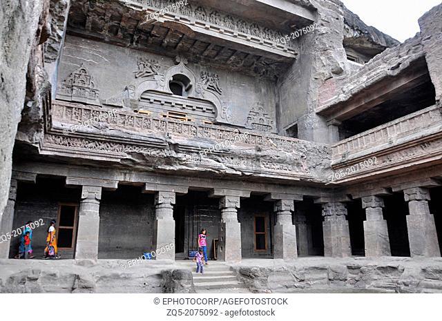 Cave 10 : Facade of the Buddhist Chaitya Hall. General-View from North-West. Ellora Caves, Aurangabad, Maharashtra, India