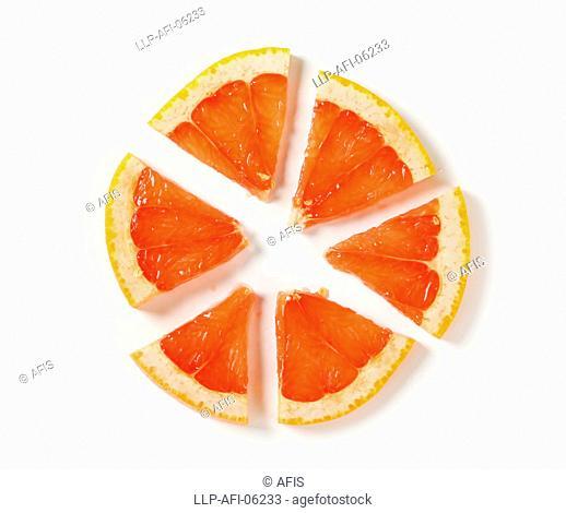 Slice of red grapefruit