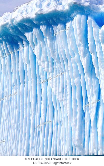 Iceberg detail in and around the Antarctic Peninsula during the summer months, Southern Ocean  MORE INFO An increasing number of icebergs are being created as...