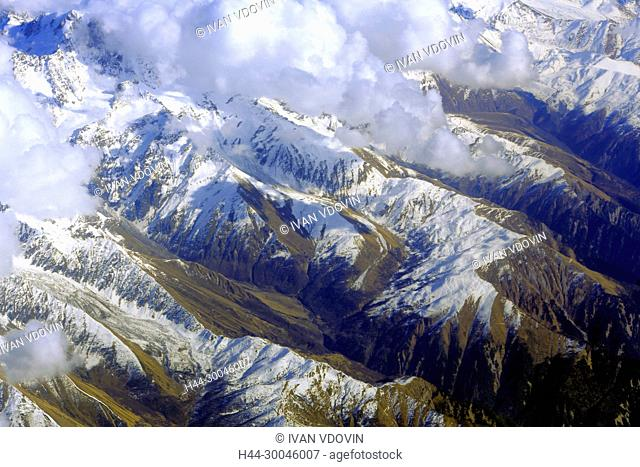 View of Caucasus mountains from airplane, Armenia