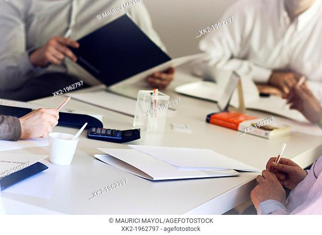 Detail of the table in a professional meeting