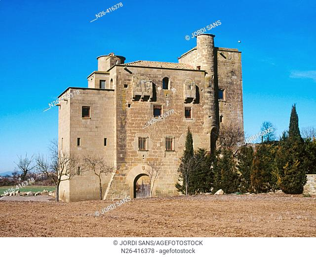 Ratera castle (XIth century), rebuilt in XIVth and XVth centuries. Gothic style. Sió river valley. Segarra. Lleida province. Spain
