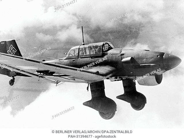 The image from the Nazi Propaganda! shows the dive bomber Junkers Ju 87 in action for the German Wehrmacht in December 1940