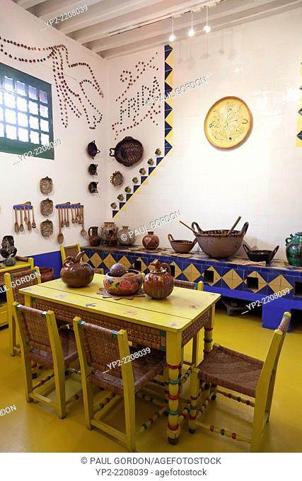 Kitchen in the Frida Kahlo Museum, known as La Casa Azul, in Coyoacán - Del Carmen, Coyoacán, Mexico City, Federal District, Mexico