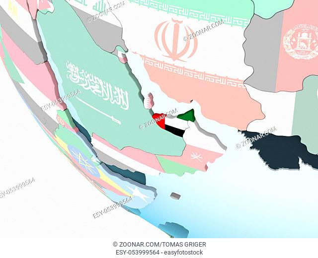 United Arab Emirates on bright political globe with embedded flag. 3D illustration