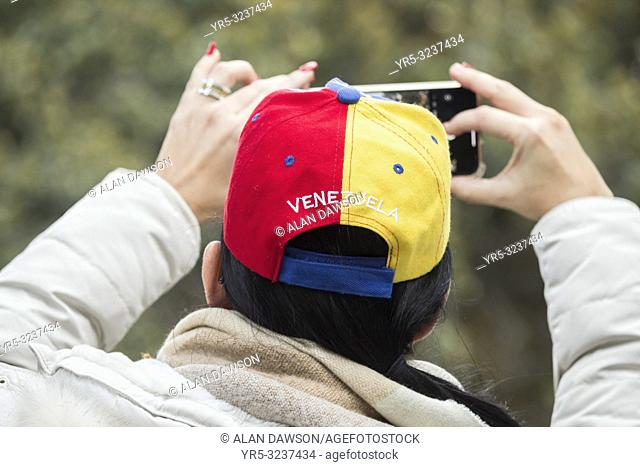 Las Palmas, Gran Canaria, Canary Islands, Spain. 2nd February 2019. Venezuelans living in Las Palmas on Gran Canaria joined thousands of fellow Venezuelans...
