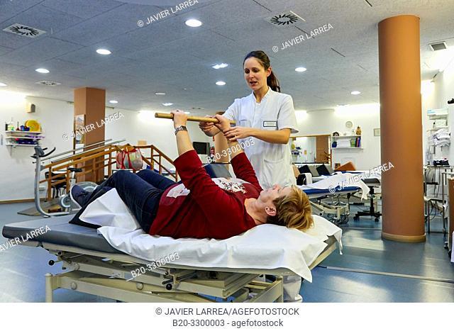 physiotherapist with patient, Rehabilitation, Amara Berri Health Center building, Donostia, San Sebastian, Gipuzkoa, Basque Country, Spain