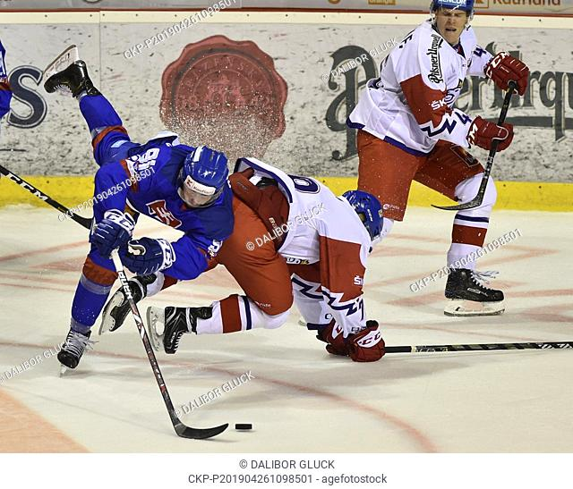 L-R Matus Sukel (SVK) and Robin Hanzl (CZE) in action during the Euro Hockey Challenge match Slovakia vs Czech Republic in Trencin, Slovakia, April 26, 2019