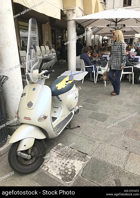 Vespa Piaggio on Piazza delle Erbe, Padova, Italy. Photo: André Maslennikov