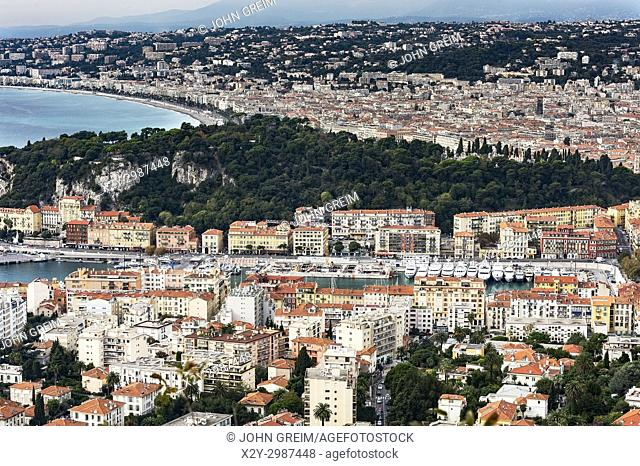 Aerial view of the French city of Nice, French Riviera, Côte d'Azur, France, Europe