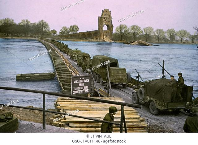 American Infantrymen and Trucks Crossing the Rhine near Worms, Germany, Central Europe Campaign, Western Allied Invasion of Germany, 1945