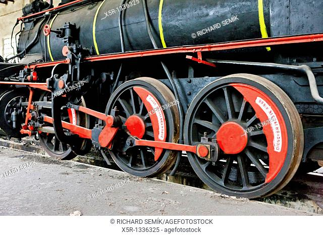 detail of steam locomotive in depot, Resavica, Serbia