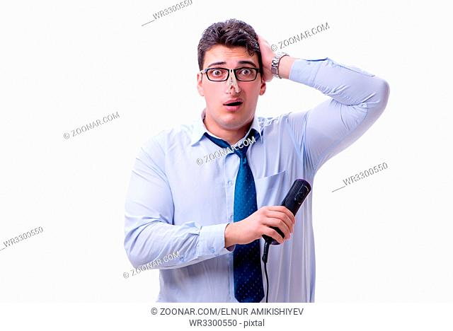 Businessman sweating excessively smelling bad isolated on white background