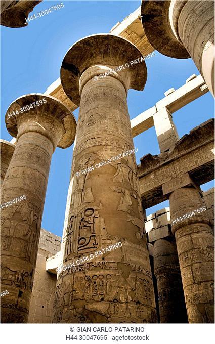 Karnak, Luxor, Egypt. Temple of Karnak sacred to god Amon: