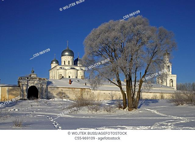St George's cathedral (1119) and bell tower, St. George's (Yuriev) Monastery, Novgorod Oblast, Russia